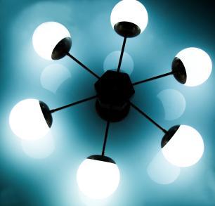 Luminária Sputnik Buble Industrial 6 hastes com Bolas de Vidro Soq: E27 | Cor: Cobre | Tam: 77cm | Mod: Buble Recto