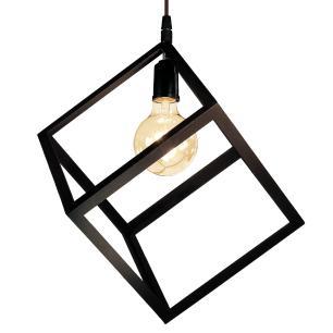 Luminária Pendente Cubo Aramado de Madeira Marrom Café - Soq: E27 / Tam: 20x20cm