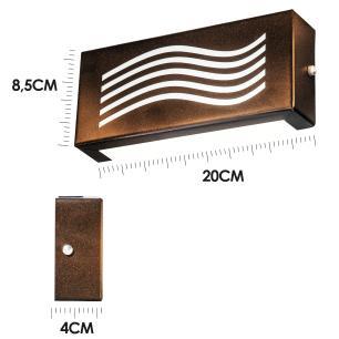 Arandela Retangular Externa Cobre Linha Orion Tam: 20x8,5cm Soq: G9 Mod: Vassily