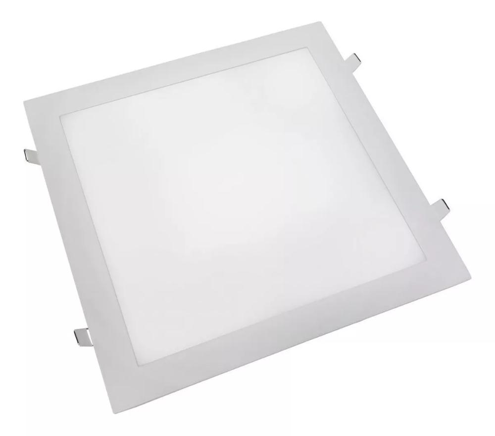 Luminária Plafon de Embutir 40x40cm Branco 32W Super Fino LED Branco Quente