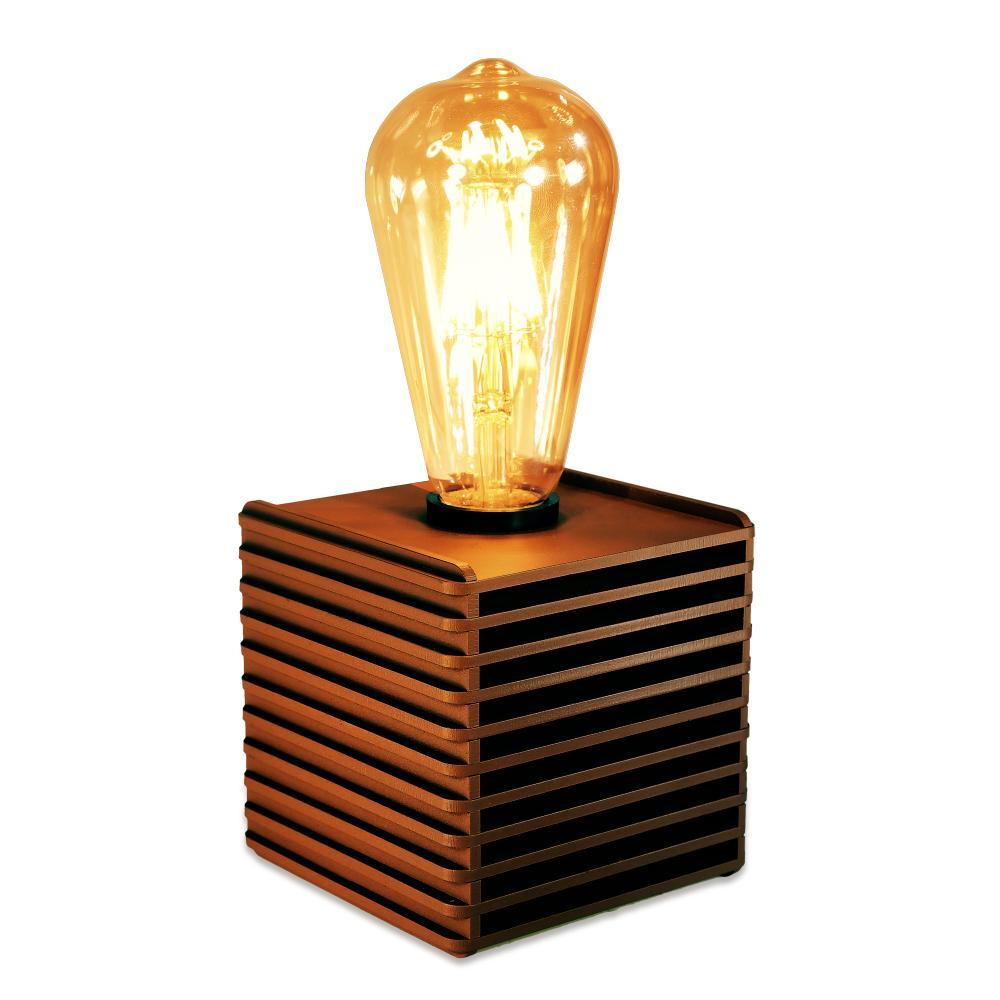 Luminária Abajur Box Retrô de Madeira Marrom Tabaco - Soq: E27 / Tam: 10x10cm