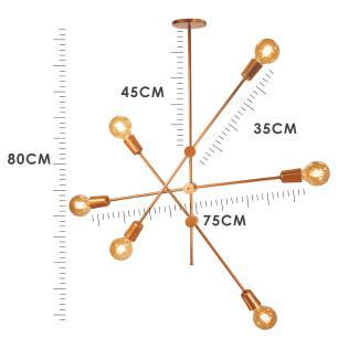 Kit Sputnik Spencer Preto com Cobre c/ 6 Lâmpadas Filamento de LED