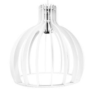 Luminária Pendente Cirkel Branca em Madeira - Soq: E27 / Tam: 35x35,5cm