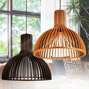 Luminária Pendente de Madeira | Cor: Chocolate | Soq: E-27 | 45x41cm | Mod: Kuma