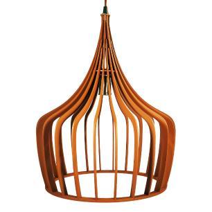 Luminária Pendente New York Caramelo de Madeira - Soq: E27 / Tam: 36x43cm