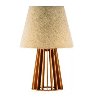 Abajur de Mesa de Madeira com Cúpula de Tecido Crua Soq: E27 Mod: Torre P Cor: Caramelo