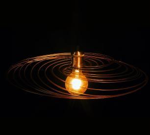 Luminária Pendente Disco Aramado Design Moderno Cobre Mod: Téplice | Soq: E27