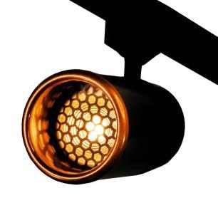 Trilho Eletrificado 1,5 metro com 5 Spots Preto SOQ: GU10 2700K| COR: Preto com Cobre| TAM: 1,5M | MOD: Z5
