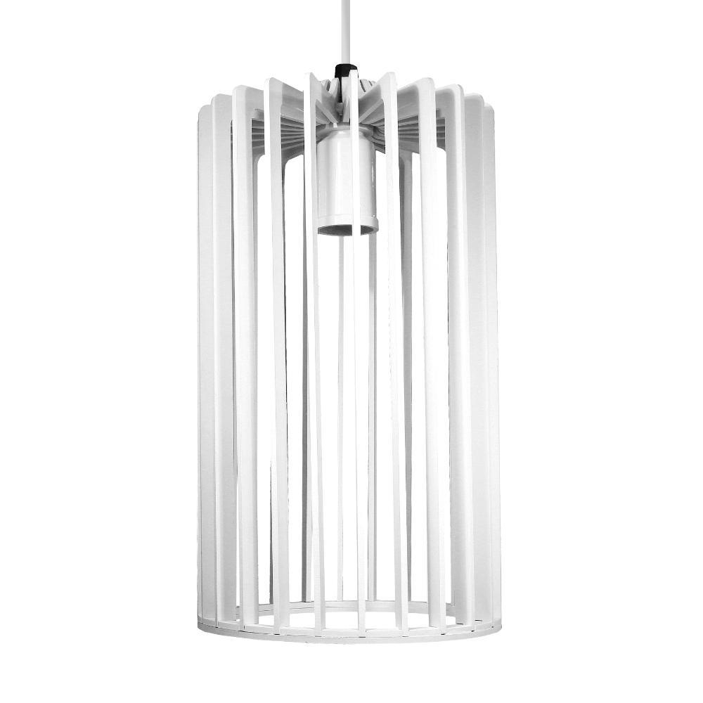Luminária Pendente Rafaello Branco de Madeira - Soq: E27 / Tam: 16x28cm