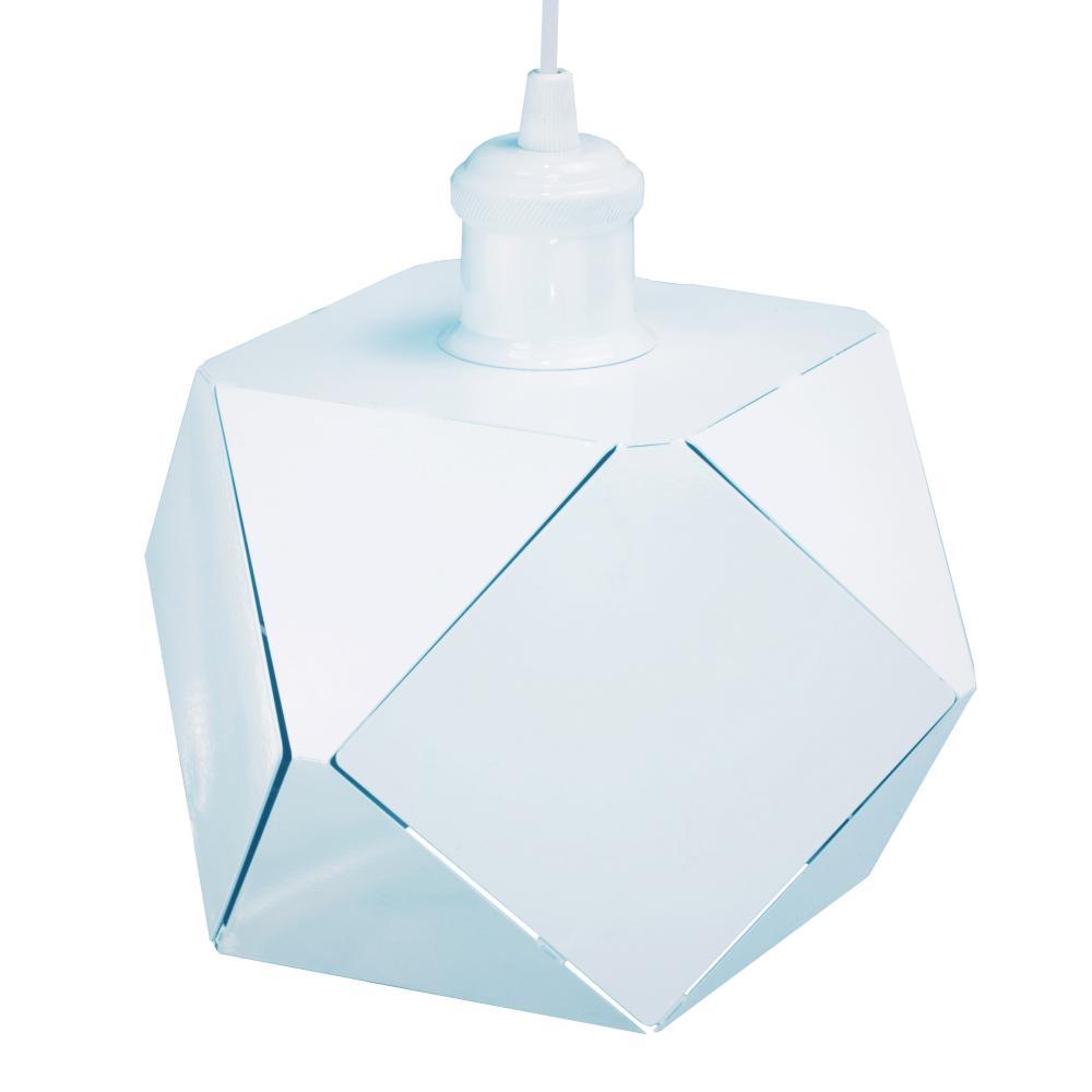Luminária Pendente Geométrico Faces Branco Mod: Jogy | Soq: E27  | Tam:  22x15cm