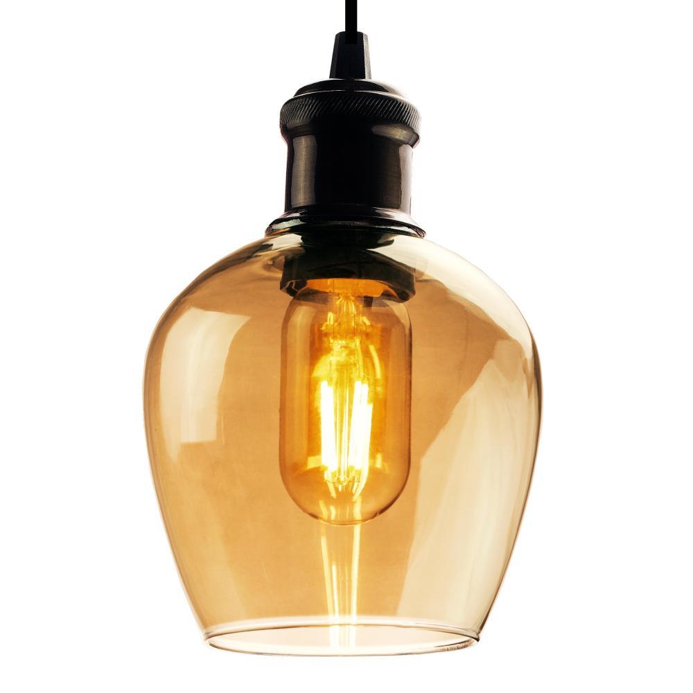 Luminária Taça de Vidro Fumê Soq: E-27 | Cor: Preto | Tam: 20cm | Mod: Taça