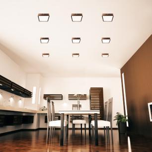 Luminária Plafon Sobrepor de LED Quadrado Marrom Tabaco 18W 5.000k