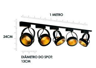 Trilho Eletrificado 1,5 metro com 5 Spots Preto SOQ: AR111 2700K| COR: Preto com Dourado| TAM: 1,5M | MOD: L3