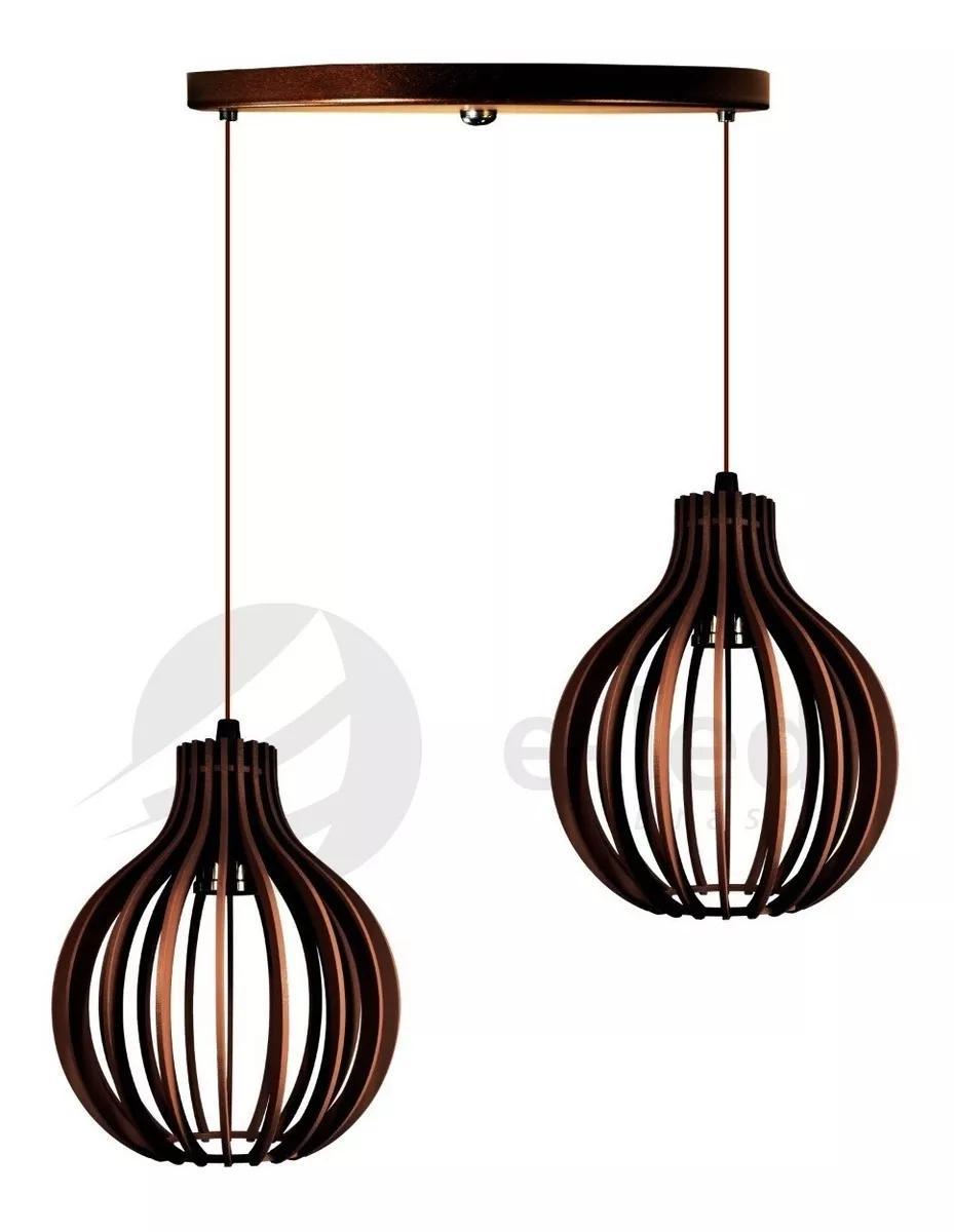 Pendente duplo de madeira   Canopla Redonda   21x18cm   Soq: E-27   Café   Mod: Bali