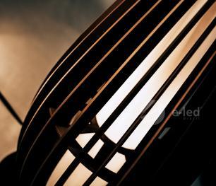 Abajur de Chão em Madeira Marrom Café Mod: Orbit Tam: 50cm SOQ: E27
