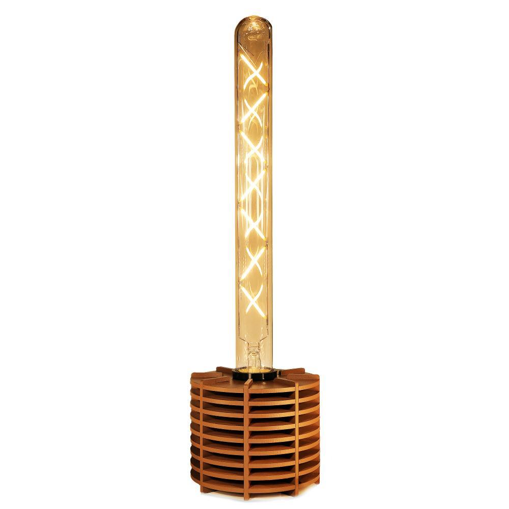 Luminária Abajur Caqui Retrô de Madeira Caramelo - Soq: E27 / Tam: 10x8cm