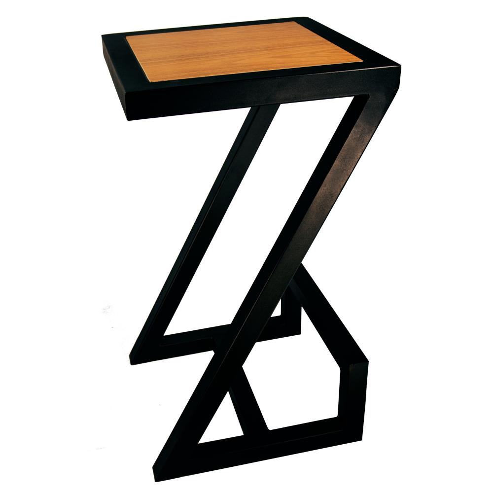 Banqueta Industrial Madeira e Metal em Formato de Z | Cor: Preto| Mod: Banqueta Z