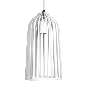 Luminária Pendente Giotto Branco em Madeira - Soq: E27 / Tam: 14x25cm
