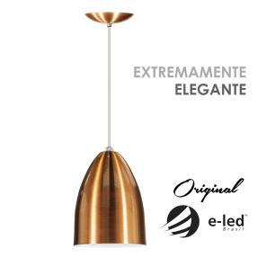 Luminária Pendente Cone de Alumínio Cobre - Soq: E27 / Tam: 13x19cm