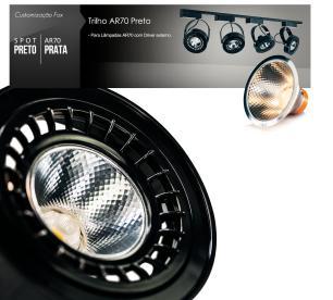 Trilho Eletrificado 1,5m com 6 Spots AR111 Preto com Lâmpada AR70 Prata LED 7W 6.000K L4