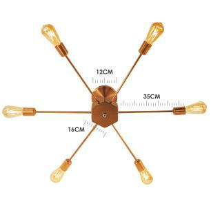 Luminária Sputnik industrial 6 hastes Com Fio Ajustável e Desviador Soq: E27 | Cor: Cobre | Tam: 86cm | Mod: Recto