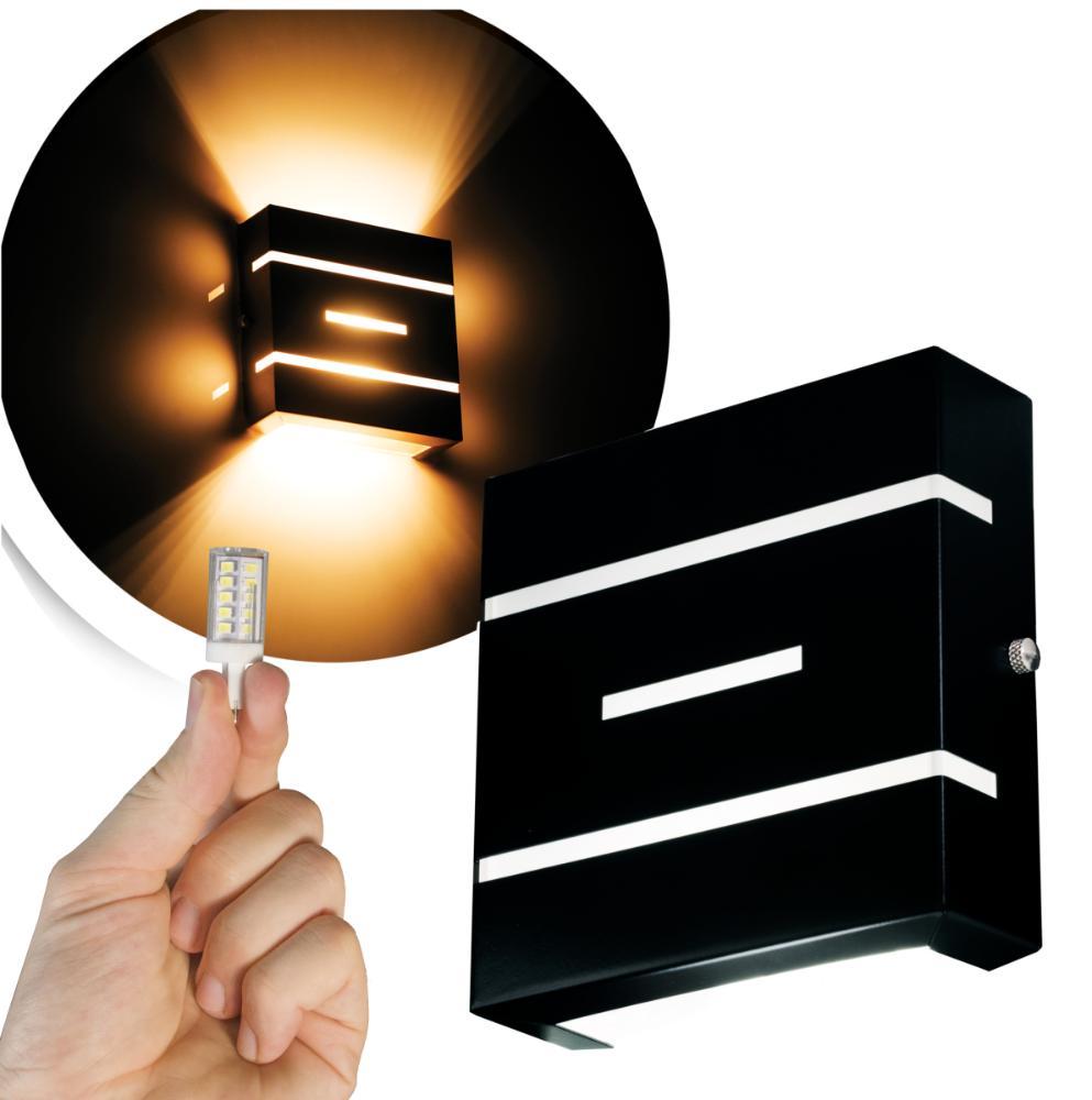Arandela Frisada Flat Externa c/ LED 5W Incluso | Cor da Luz: 2.700k | Tam: 14x14cm | Cor: Preto | Soq: G9 | Mod: Flyn