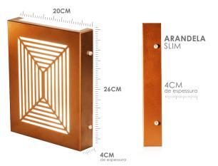 Arandela Slim Externa Interna 2 Focos Flat Decor Cor: Cobre Modelo: Gris