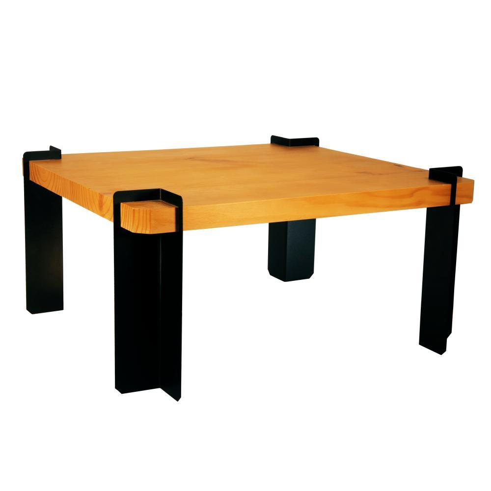 Mesa De Centro Madeira e Metal Para Sala de Estar | Mod: Senepa | Cor: Pinus e Preto