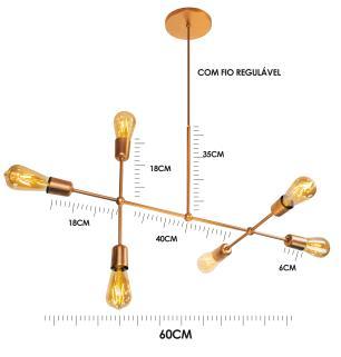 Luminária Sputnik Gun Industrial 6 hastes com Fio Ajustável Soq: E27 | Cor: Cobre | Tam: 60cm | Mod: Sputnik Gun Fio