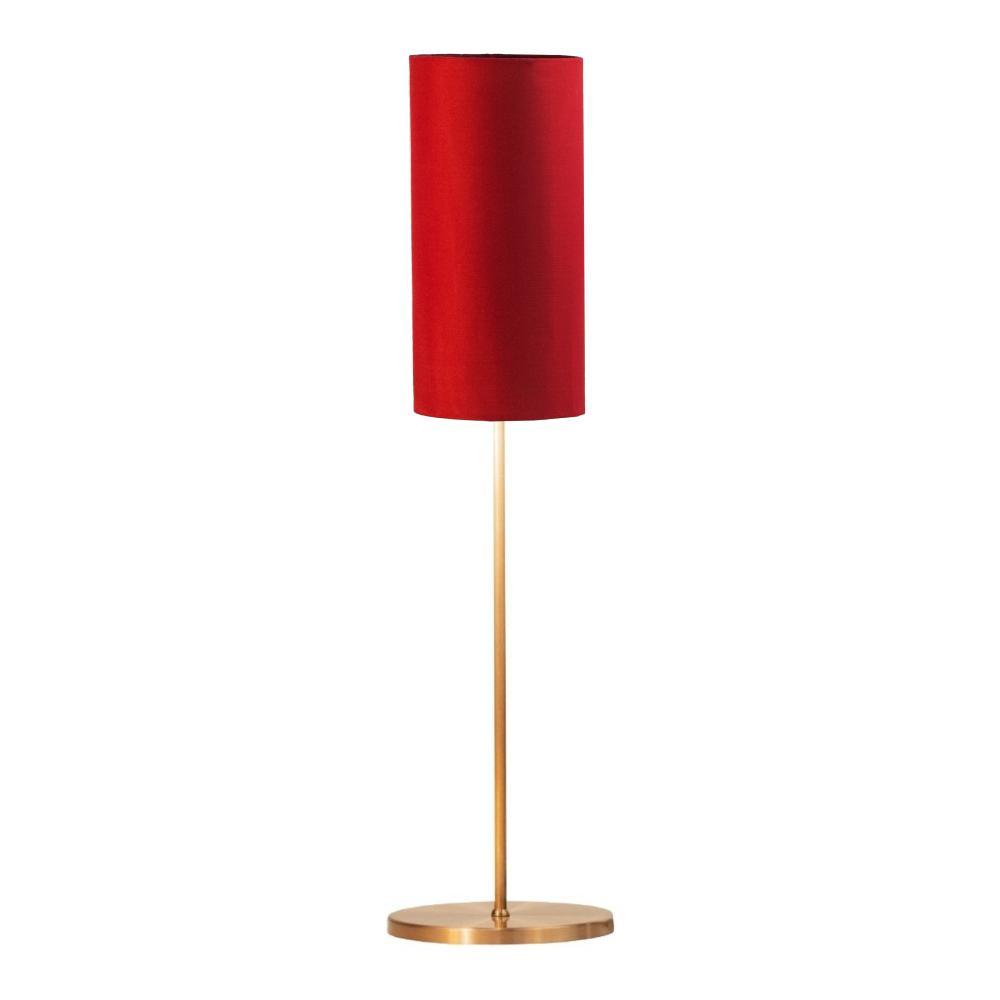 Abajur de Mesa Vela Classico Soq: E27   Cor: Cobre   Cúpula: Vermelha   Tam: 65cm   Mod: Vela