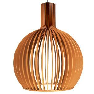 Luminária Pendente Octo Bellatrix Caramelo em Madeira - Soq: E27 / Tam: 45x56cm