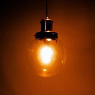 Luminária Pendente de Teto | Bola de Vidro Transparente | Tam: 22x15cm | Cor: Cobre | Mod: Glon