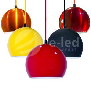 Luminária Pendente Meia Bola Conflate Laranja de Alumínio - Soq: E27 / Tam: 14x13cm