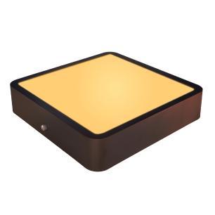 Luminária Plafon Sobrepor de LED Quadrado Marrom Café 18W 2.700k