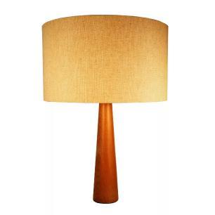 Abajur de Mesa em Madeira com Cúpula de Tecido Bege Crua Tam: 35x50cm
