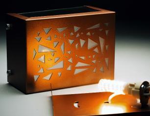 Arandela Retangular Marrom Externa Com Desenho Tam: 15x10cm Soq: G9 Mod: Mosaic