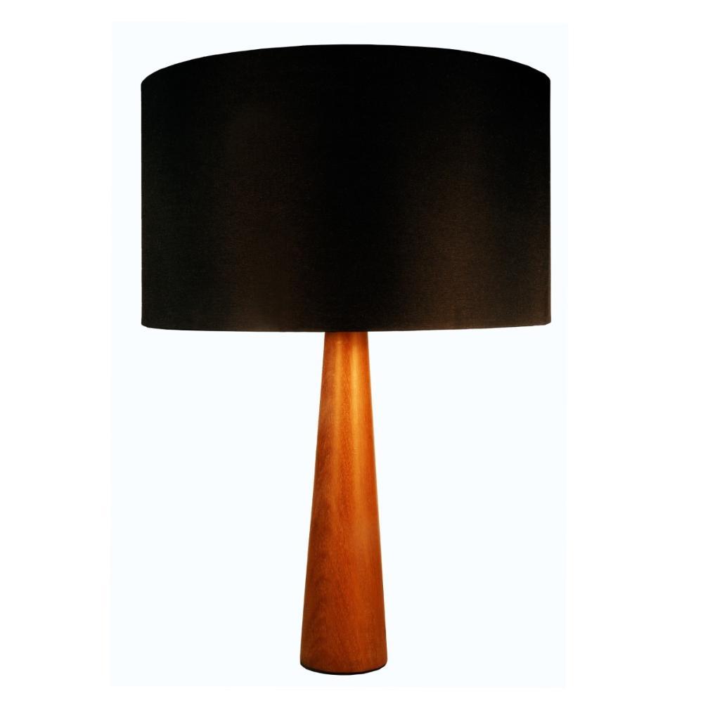 Abajur de Mesa em Madeira com Cúpula de Tecido Preto Tam: 35x50cm