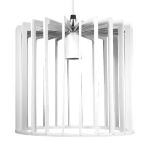 Luminária Pendente Tiziano Branco de Madeira - Soq: E27 / Tam: 22x23cm