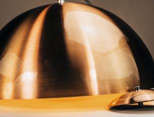 Luminária Lustre Meia Lua Cobre Verniz de Alumínio - Soq: E27 / Tam: 30x15cm