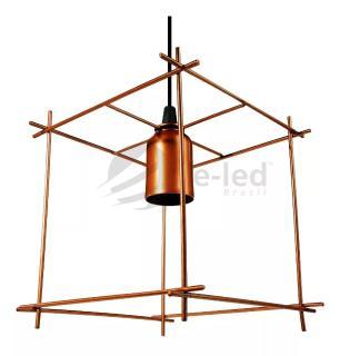 Lustre Pendente Aramado Industrial Cubo Soq: E27 | Cor:Cobre | Tam: 19cm | Mod: Cube