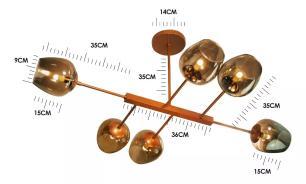Luminária Fedro Industrial Moderna 6 Taças de Vidro Fumê Soq: G9 | Cor: Cobre| Tam: 105cm | Mod: Fedro