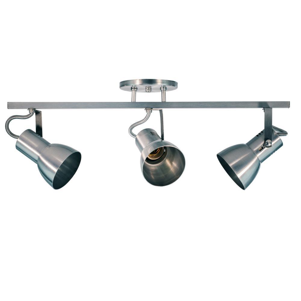 Trilho Triplo de Alumínio 3 Spots P/ PAR 20 Escovado Soq: E27 / Tam: 60cm
