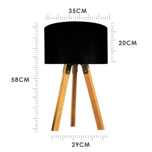 Abajur de Mesa Tripé | Madeira de Cedro | Cúpula de Tecido Preto | Tam: 58x29cm | Mod: Eros