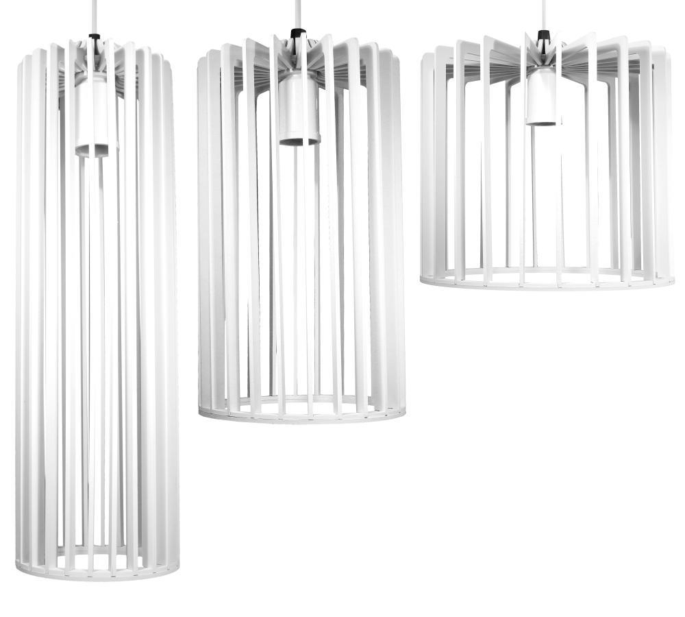 Conjunto Isac Branco de 3 Luminárias Pendentes De Madeira - Soq: E27