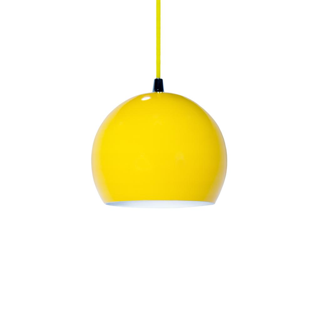Luminária Pendente Meia Bola Conflate Amarela de Alumínio - Soq: E27 / Tam: 14x13cm
