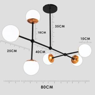 Luminária Sputnik Gun Bola de Vidro Industrial 6 hastes Assimetrico Soq: G9   Cor: Preto   Tam: 80cm   Mod: Sputnik Gun Bola de Vidro