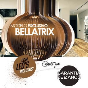 Luminária Pendente Octo Bellatrix Marrom Tabaco em Madeira  - LED 964 Lúmens / 5000K / Tam: 38x46cm