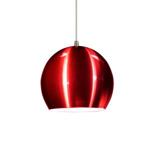 Luminária Pendente Meia Bola Conflate Cereja de Alumínio - Soq: E27 / Tam: 14x13cm
