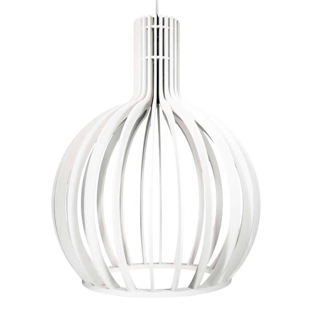 Luminária Pendente Octo Bellatrix S Branco em Madeira - Soq: E27 / Tam: 27x36cm