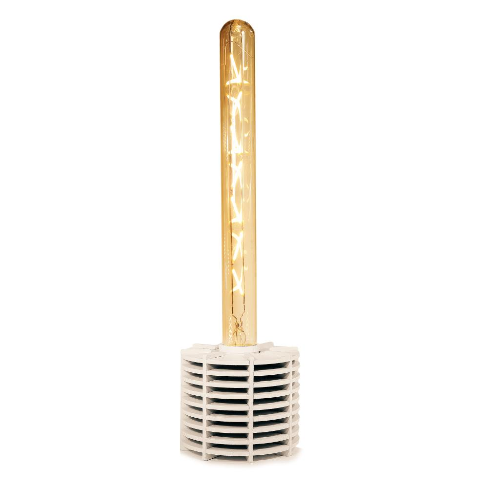 Luminária Abajur Caqui Retrô de Madeira Branco - Soq: E27 / Tam: 10x8cm